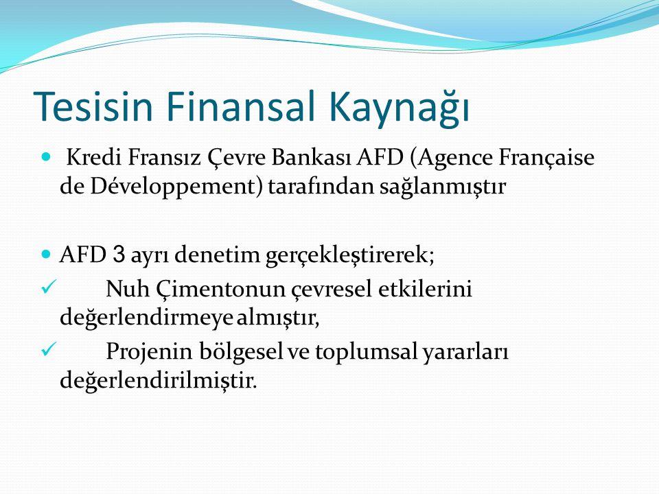 Tesisin Finansal Kaynağı Kredi Fransız Çevre Bankası AFD (Agence Française de Développement) tarafından sağlanmıştır AFD 3 ayrı denetim gerçekleştirer