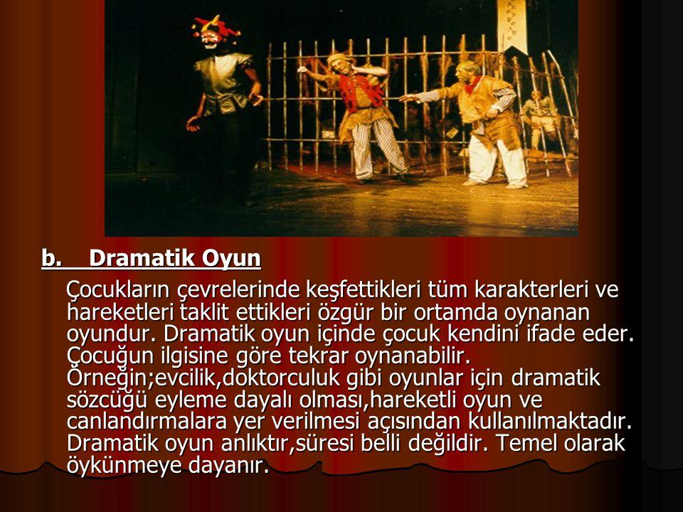 b. Dramatik Oyun Çocukların çevrelerinde keşfettikleri tüm karakterleri ve hareketleri taklit ettikleri özgür bir ortamda oynanan oyundur. Dramatik oy