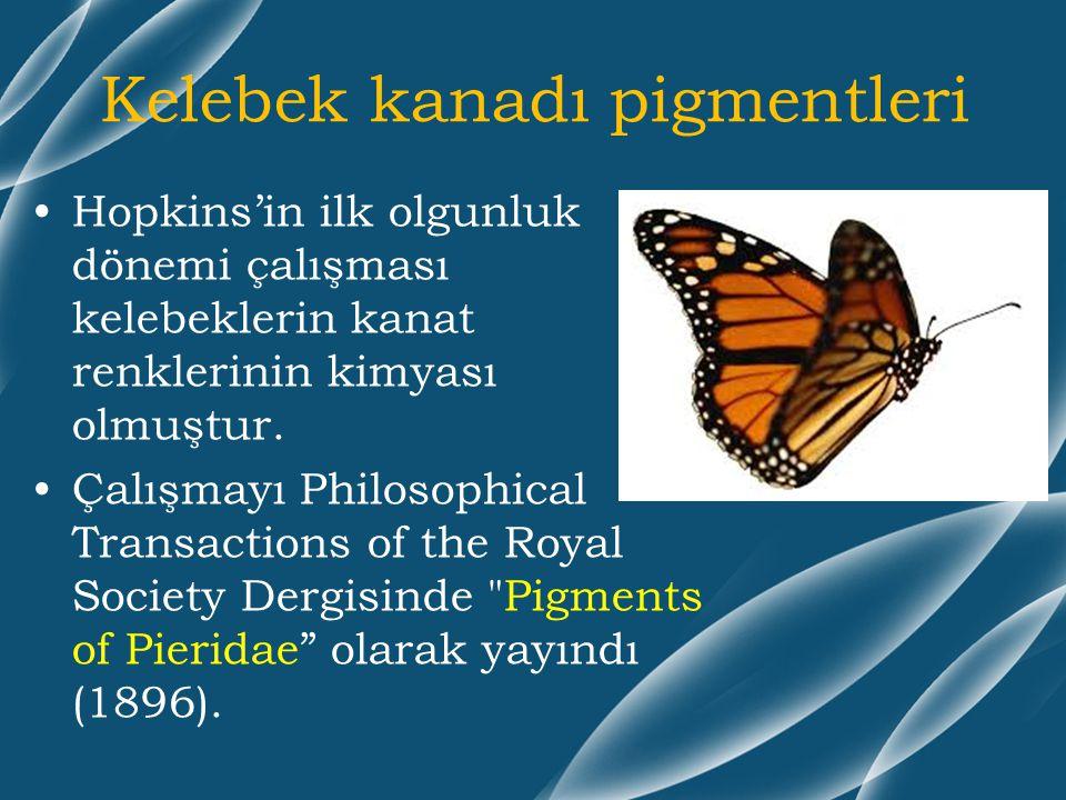 Kelebek kanadı pigmentleri Hopkins'in ilk olgunluk dönemi çalışması kelebeklerin kanat renklerinin kimyası olmuştur. Çalışmayı Philosophical Transacti