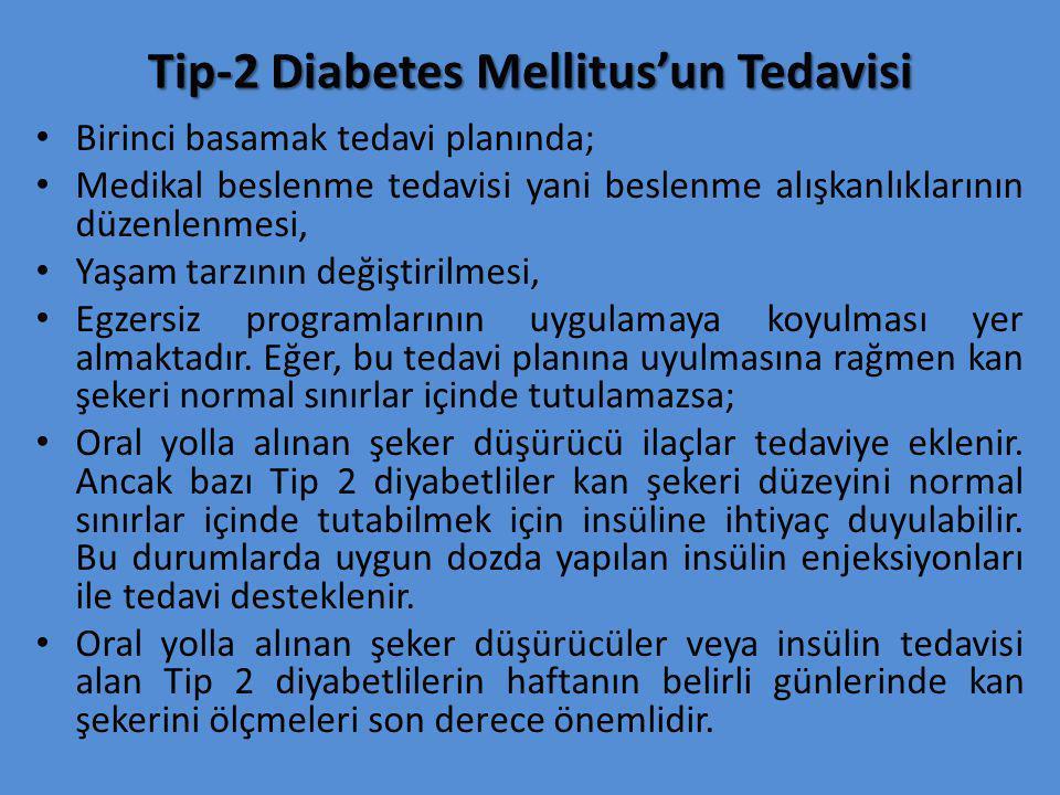 Tip-2 Diabetes Mellitus'un Tedavisi Birinci basamak tedavi planında; Medikal beslenme tedavisi yani beslenme alışkanlıklarının düzenlenmesi, Yaşam tar
