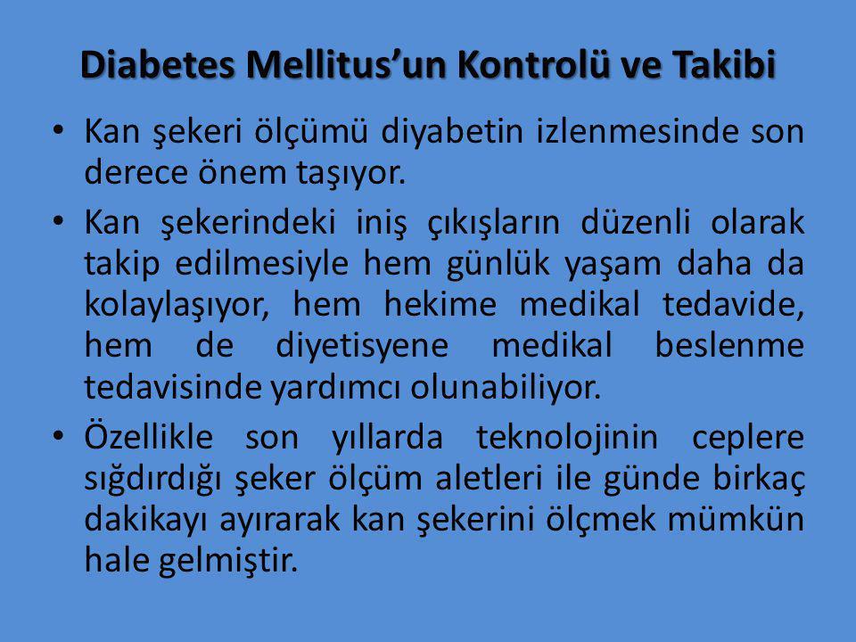 Diabetes Mellitus'un Kontrolü ve Takibi Kan şekeri ölçümü diyabetin izlenmesinde son derece önem taşıyor. Kan şekerindeki iniş çıkışların düzenli olar