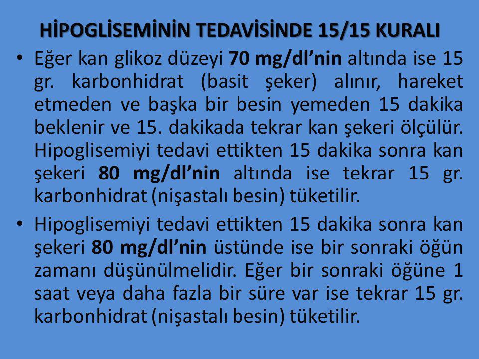 HİPOGLİSEMİNİN TEDAVİSİNDE 15/15 KURALI Eğer kan glikoz düzeyi 70 mg/dl'nin altında ise 15 gr. karbonhidrat (basit şeker) alınır, hareket etmeden ve b