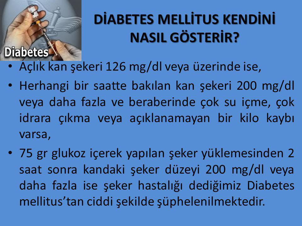 DİABETES MELLİTUS KENDİNİ NASIL GÖSTERİR? Açlık kan şekeri 126 mg/dl veya üzerinde ise, Herhangi bir saatte bakılan kan şekeri 200 mg/dl veya daha faz