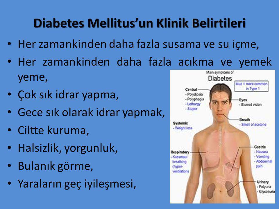Diabetes Mellitus'un Klinik Belirtileri Her zamankinden daha fazla susama ve su içme, Her zamankinden daha fazla acıkma ve yemek yeme, Çok sık idrar yapma, Gece sık olarak idrar yapmak, Ciltte kuruma, Halsizlik, yorgunluk, Bulanık görme, Yaraların geç iyileşmesi,