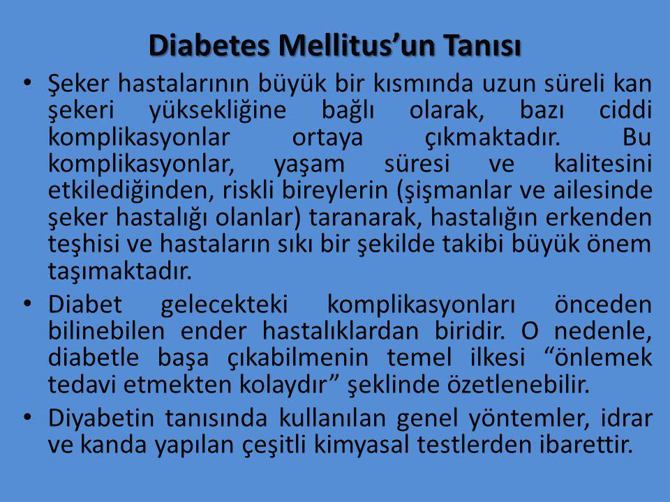 Diabetes Mellitus'un Tanısı Şeker hastalarının büyük bir kısmında uzun süreli kan şekeri yüksekliğine bağlı olarak, bazı ciddi komplikasyonlar ortaya çıkmaktadır.