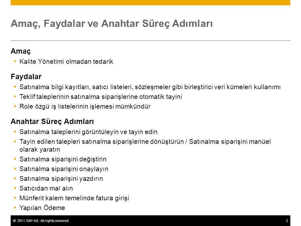 ©2011 SAP AG. All rights reserved.2 Amaç, Faydalar ve Anahtar Süreç Adımları Amaç  Kalite Yönetimi olmadan tedarik Faydalar  Satınalma bilgi kayıtla