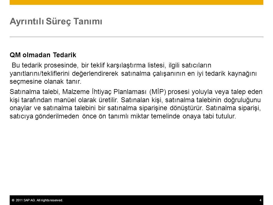 ©2011 SAP AG. All rights reserved.4 Ayrıntılı Süreç Tanımı QM olmadan Tedarik Bu tedarik prosesinde, bir teklif karşılaştırma listesi, ilgili satıcıla