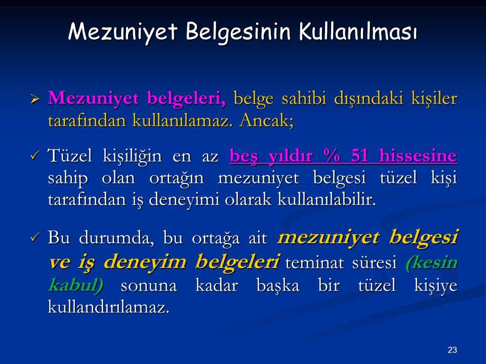 23 Mezuniyet Belgesinin Kullanılması  Mezuniyet belgeleri, belge sahibi dışındaki kişiler tarafından kullanılamaz.