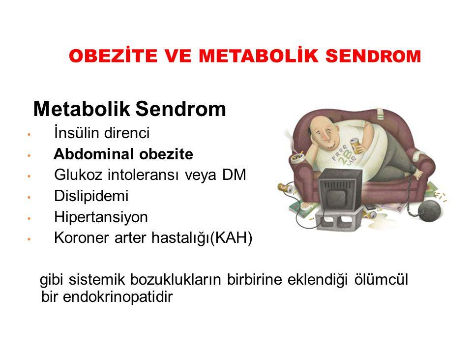 OBEZİTE VE METABOLİK SEN DROM Metabolik Sendrom İnsülin direnci Abdominal obezite Glukoz intoleransı veya DM Dislipidemi Hipertansiyon Koroner arter h