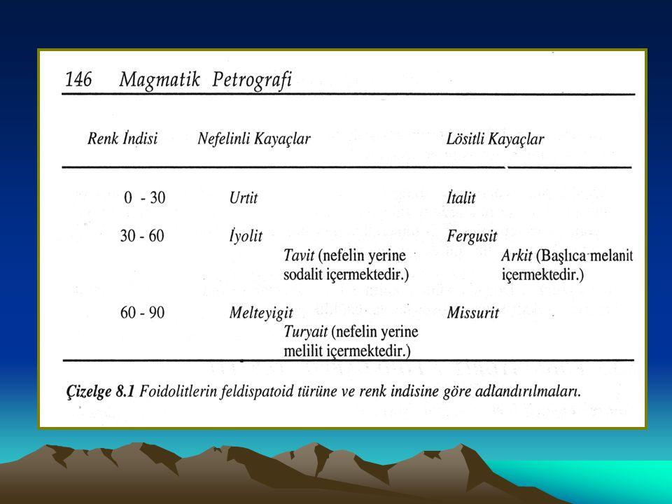 Feldispatoidli Plütonik Kayaçlar (Foidolitler) ve Karbonatitler Foidolitler oldukça ender rastlanan feldispatoidli plütonik kayaçlardır. Foidolitler o