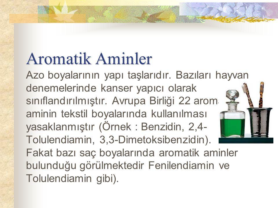 Aromatik Aminler Aromatik Aminler Azo boyalarının yapı taşlarıdır. Bazıları hayvan denemelerinde kanser yapıcı olarak sınıflandırılmıştır. Avrupa Birl
