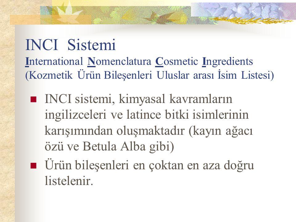 INCI Sistemi International Nomenclatura Cosmetic Ingredients (Kozmetik Ürün Bileşenleri Uluslar arası İsim Listesi) INCI sistemi, kimyasal kavramların