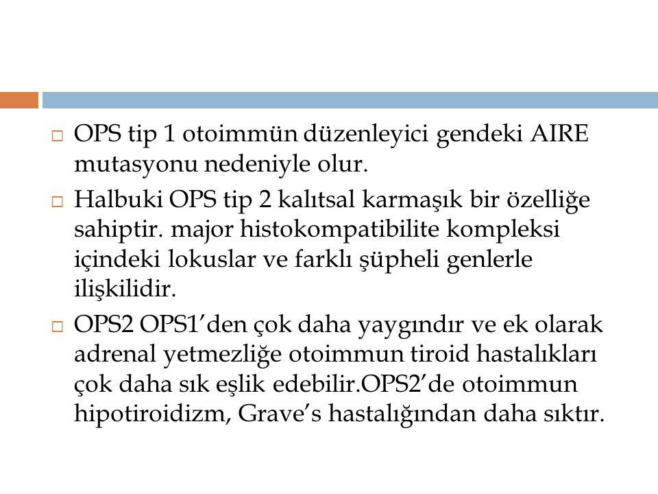  OPS tip 1 otoimmün düzenleyici gendeki AIRE mutasyonu nedeniyle olur.  Halbuki OPS tip 2 kalıtsal karmaşık bir özelliğe sahiptir. major histokompat