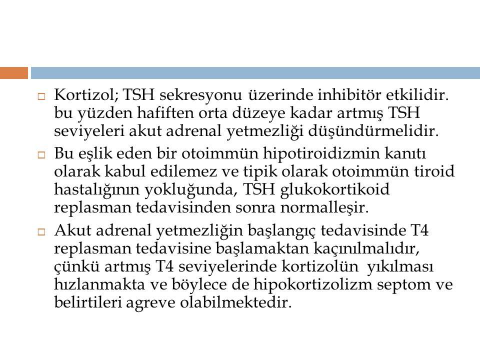  Kortizol; TSH sekresyonu üzerinde inhibitör etkilidir. bu yüzden hafiften orta düzeye kadar artmış TSH seviyeleri akut adrenal yetmezliği düşündürme