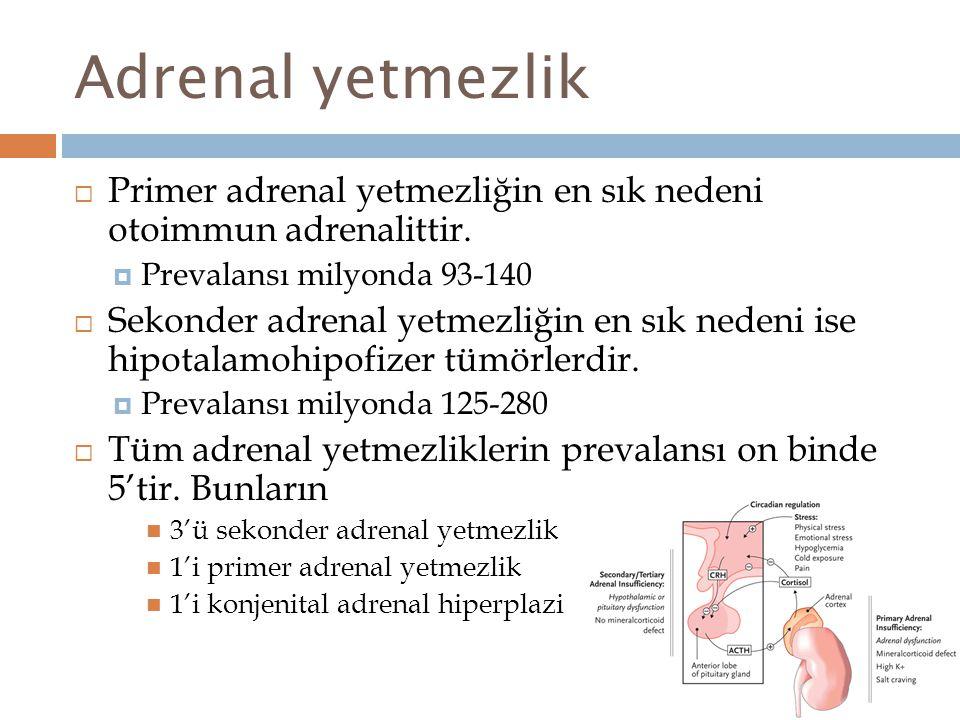 Adrenal yetmezlik  Primer adrenal yetmezliğin en sık nedeni otoimmun adrenalittir.  Prevalansı milyonda 93-140  Sekonder adrenal yetmezliğin en sık