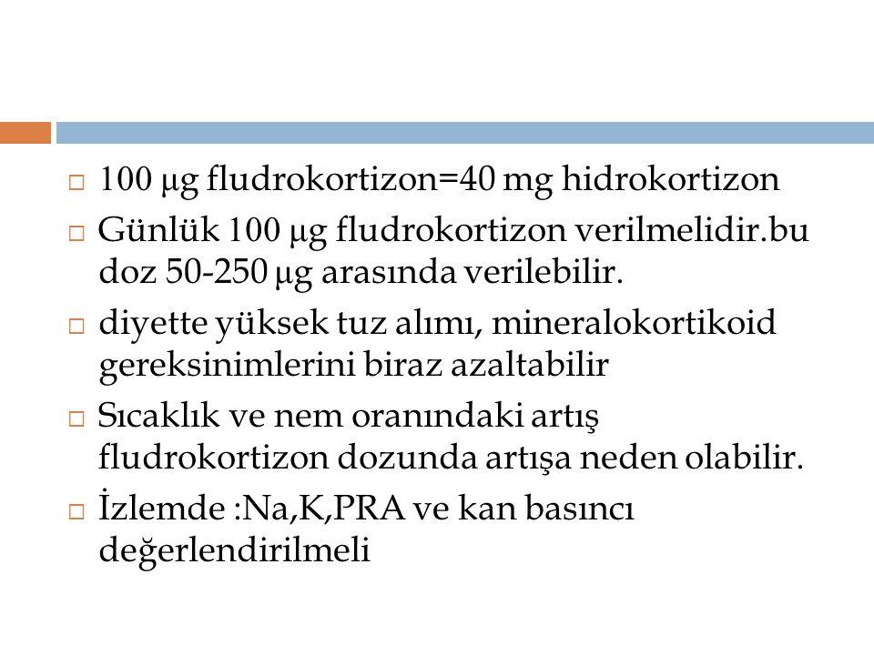  100 μ g fludrokortizon=40 mg hidrokortizon  Günlük 100 μ g fludrokortizon verilmelidir.bu doz 50-250 μ g arasında verilebilir.  diyette yüksek tuz