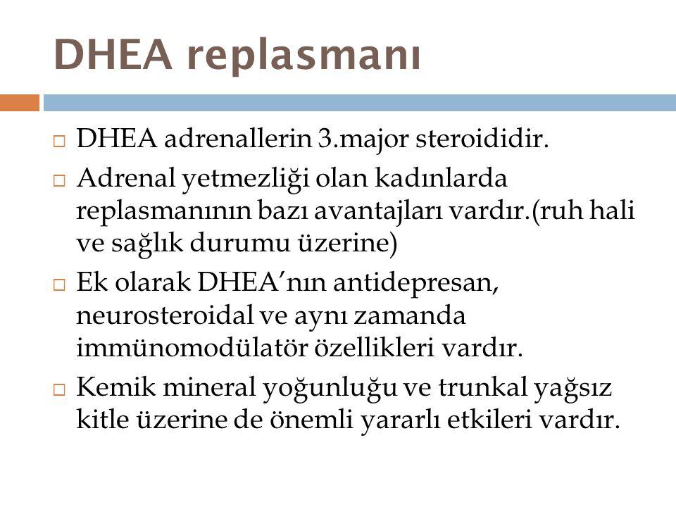 DHEA replasmanı  DHEA adrenallerin 3.major steroididir.  Adrenal yetmezliği olan kadınlarda replasmanının bazı avantajları vardır.(ruh hali ve sağlı