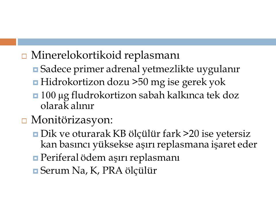  Minerelokortikoid replasmanı  Sadece primer adrenal yetmezlikte uygulanır  Hidrokortizon dozu >50 mg ise gerek yok  100 μ g fludrokortizon sabah