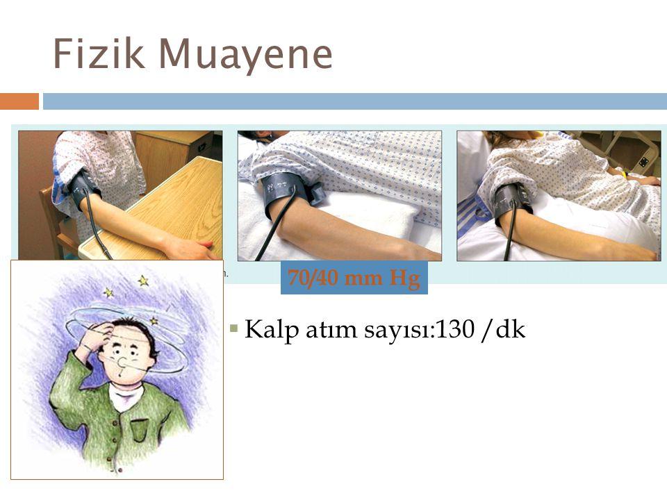 Laboratuvar Hemoglobin: 11 g/dL (N:14-18) Sodyum: 127 mmol/L (N:135-149) Potasyum : 5.4 mmol/L (N:3.5-5) Kreatinin : 160 µmol/L (N:50-101)