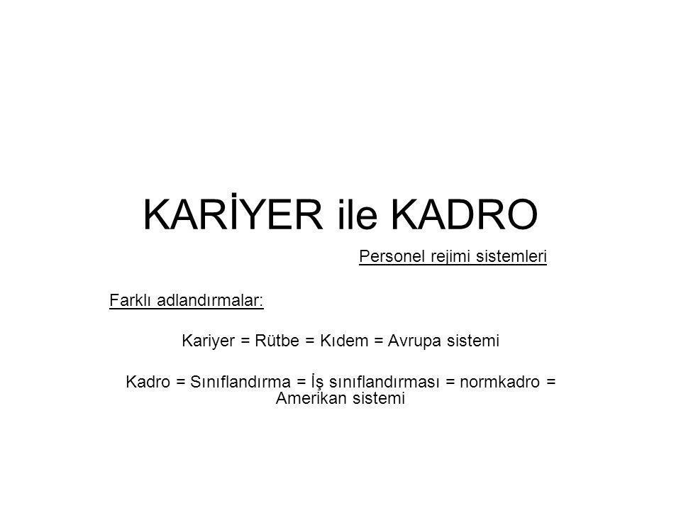 KARİYER ile KADRO Farklı adlandırmalar: Kariyer = Rütbe = Kıdem = Avrupa sistemi Kadro = Sınıflandırma = İş sınıflandırması = normkadro = Amerikan sis