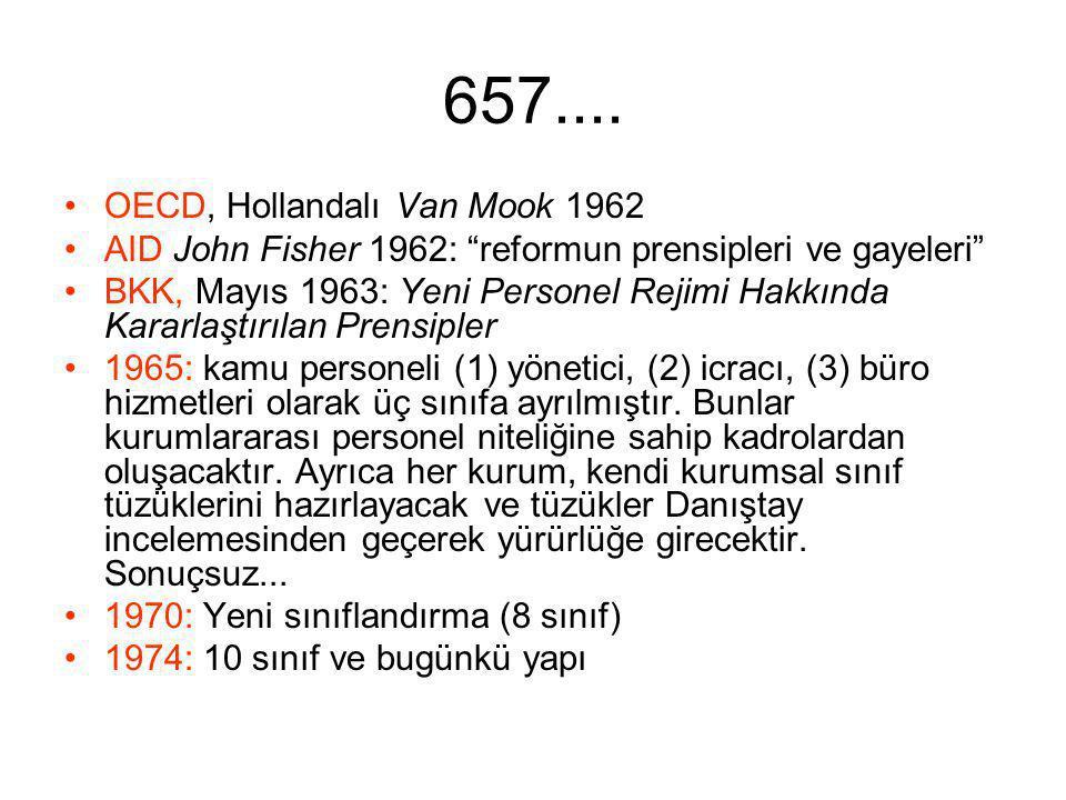 """657.... OECD, Hollandalı Van Mook 1962 AID John Fisher 1962: """"reformun prensipleri ve gayeleri"""" BKK, Mayıs 1963: Yeni Personel Rejimi Hakkında Kararla"""