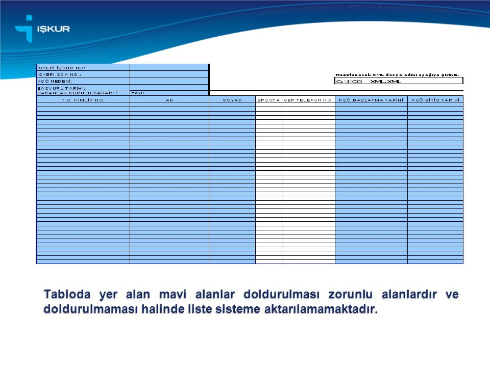 İlk işlem olarak, listenin sol üst kısmında yer alan ve içerisinde İşyeri İŞKUR No: ifadesi bulunan hücrenin yanındaki hücreye işyerinin İŞKUR Numarası yazılmalıdır.