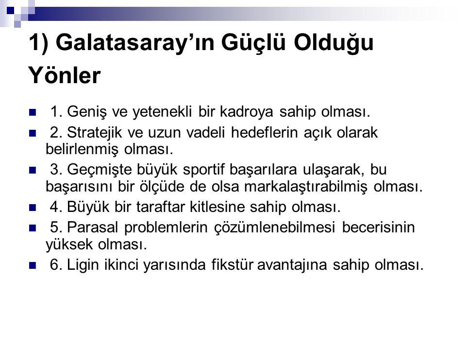 1) Galatasaray'ın Güçlü Olduğu Yönler 1. Geniş ve yetenekli bir kadroya sahip olması. 2. Stratejik ve uzun vadeli hedeflerin açık olarak belirlenmiş o