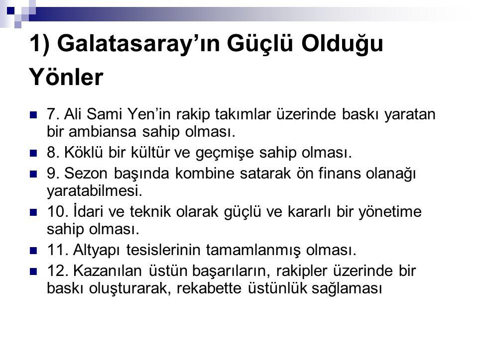 1) Galatasaray'ın Güçlü Olduğu Yönler 7. Ali Sami Yen'in rakip takımlar üzerinde baskı yaratan bir ambiansa sahip olması. 8. Köklü bir kültür ve geçmi