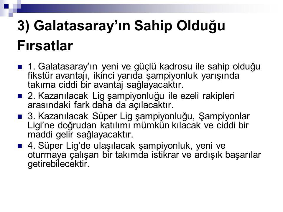 3) Galatasaray'ın Sahip Olduğu Fırsatlar 1. Galatasaray'ın yeni ve güçlü kadrosu ile sahip olduğu fikstür avantajı, ikinci yarıda şampiyonluk yarışınd