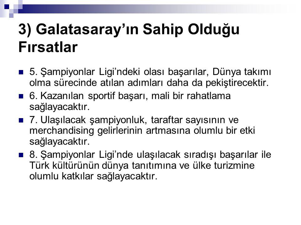 3) Galatasaray'ın Sahip Olduğu Fırsatlar 5. Şampiyonlar Ligi'ndeki olası başarılar, Dünya takımı olma sürecinde atılan adımları daha da pekiştirecekti