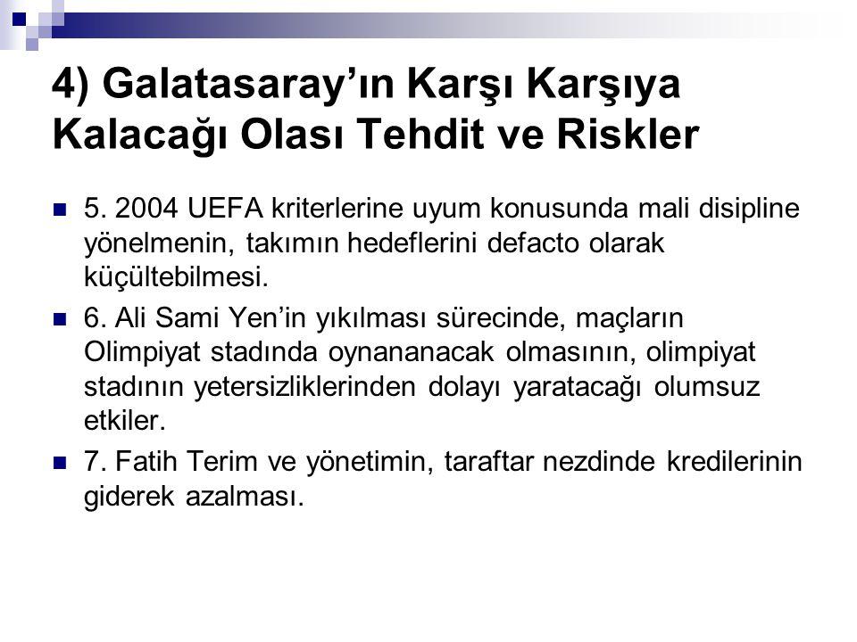 4) Galatasaray'ın Karşı Karşıya Kalacağı Olası Tehdit ve Riskler 5. 2004 UEFA kriterlerine uyum konusunda mali disipline yönelmenin, takımın hedefleri