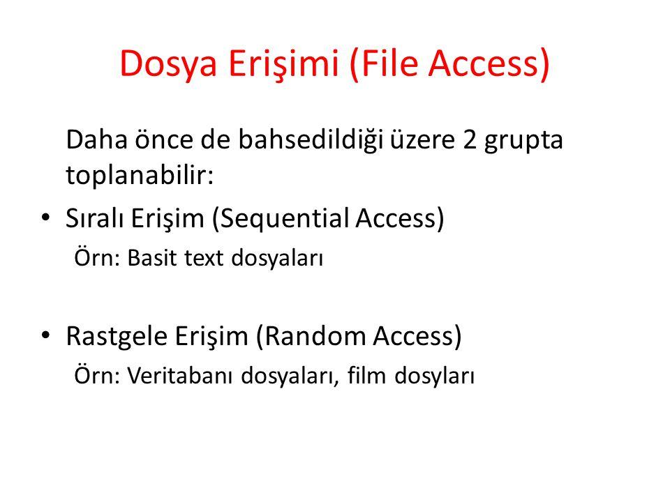 Dosya Erişimi (File Access) Daha önce de bahsedildiği üzere 2 grupta toplanabilir: Sıralı Erişim (Sequential Access) Örn: Basit text dosyaları Rastgel