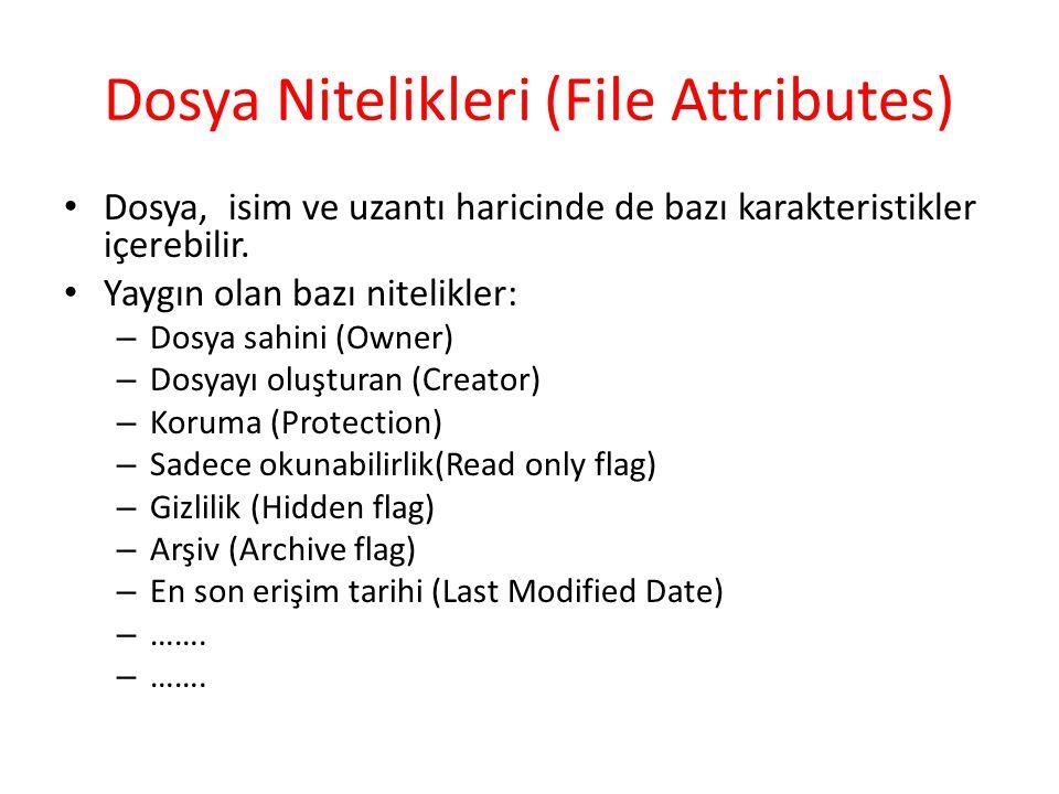 Dosya Nitelikleri (File Attributes) Dosya, isim ve uzantı haricinde de bazı karakteristikler içerebilir. Yaygın olan bazı nitelikler: – Dosya sahini (