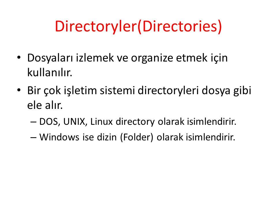 Directoryler(Directories) Dosyaları izlemek ve organize etmek için kullanılır. Bir çok işletim sistemi directoryleri dosya gibi ele alır. – DOS, UNIX,