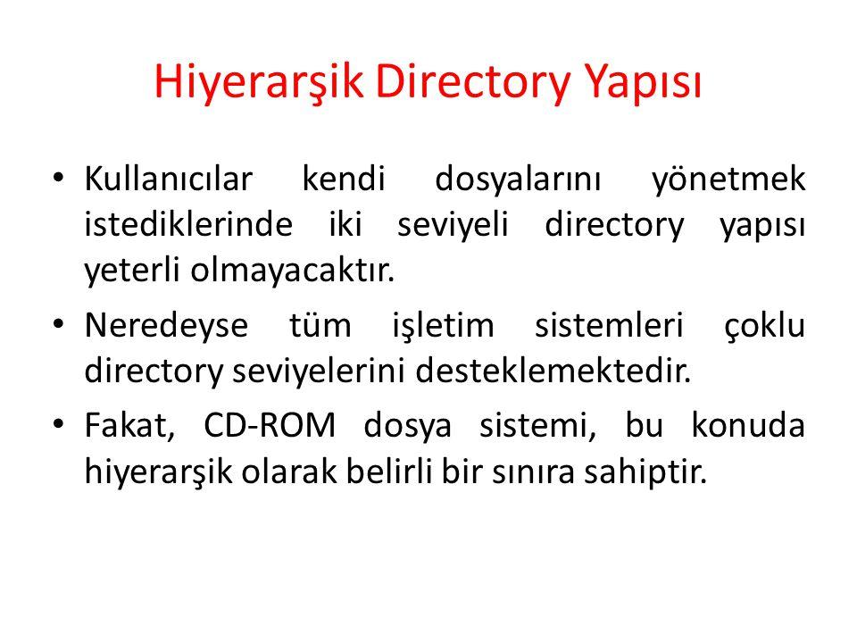 Hiyerarşik Directory Yapısı Kullanıcılar kendi dosyalarını yönetmek istediklerinde iki seviyeli directory yapısı yeterli olmayacaktır. Neredeyse tüm i