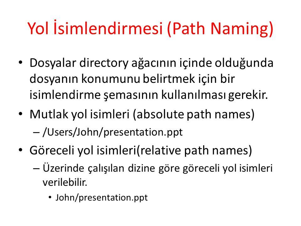Yol İsimlendirmesi (Path Naming) Dosyalar directory ağacının içinde olduğunda dosyanın konumunu belirtmek için bir isimlendirme şemasının kullanılması