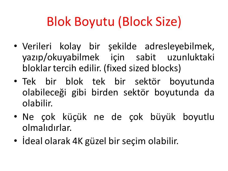 Blok Boyutu (Block Size) Verileri kolay bir şekilde adresleyebilmek, yazıp/okuyabilmek için sabit uzunluktaki bloklar tercih edilir. (fixed sized bloc