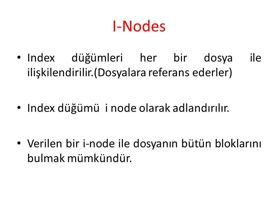I-Nodes Index düğümleri her bir dosya ile ilişkilendirilir.(Dosyalara referans ederler) Index düğümü i node olarak adlandırılır. Verilen bir i-node il