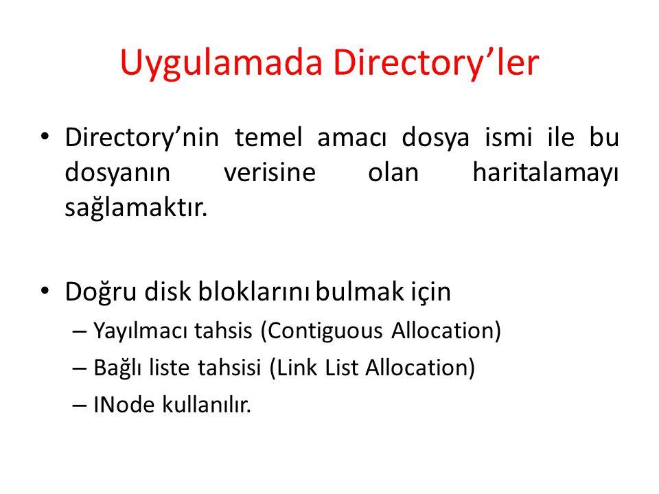 Uygulamada Directory'ler Directory'nin temel amacı dosya ismi ile bu dosyanın verisine olan haritalamayı sağlamaktır. Doğru disk bloklarını bulmak içi