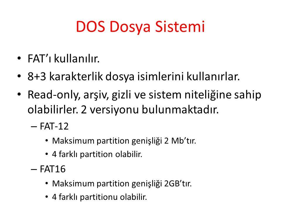 DOS Dosya Sistemi FAT'ı kullanılır. 8+3 karakterlik dosya isimlerini kullanırlar. Read-only, arşiv, gizli ve sistem niteliğine sahip olabilirler. 2 ve