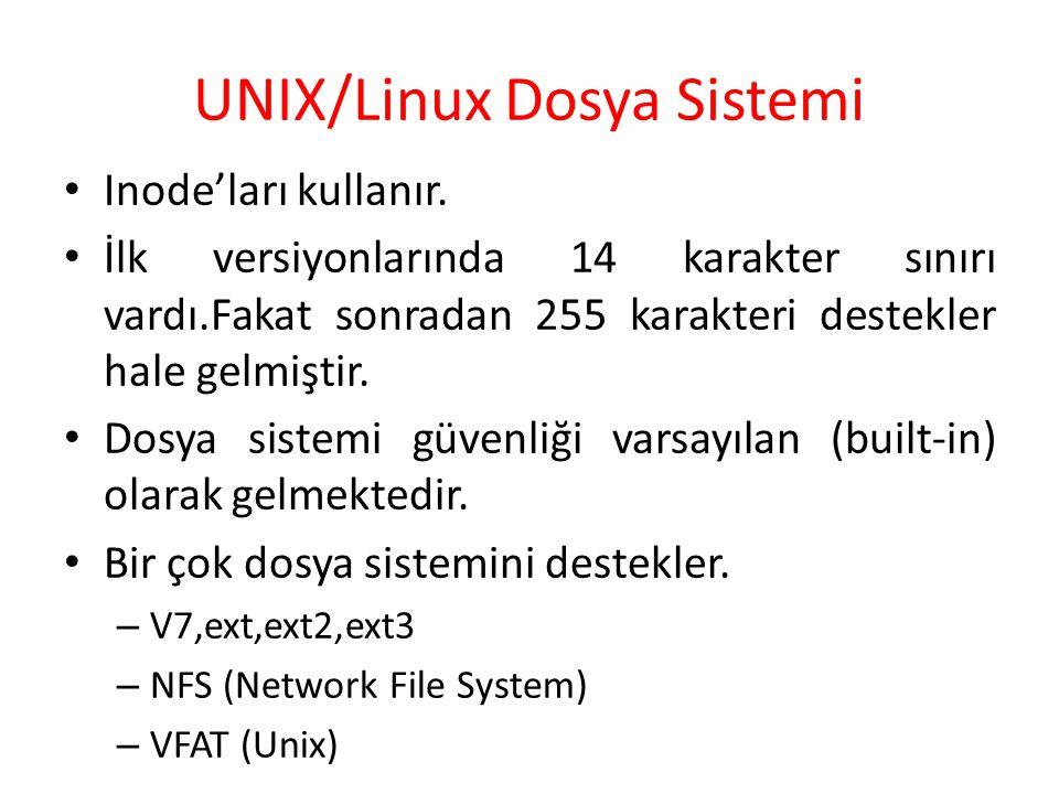 UNIX/Linux Dosya Sistemi Inode'ları kullanır. İlk versiyonlarında 14 karakter sınırı vardı.Fakat sonradan 255 karakteri destekler hale gelmiştir. Dosy