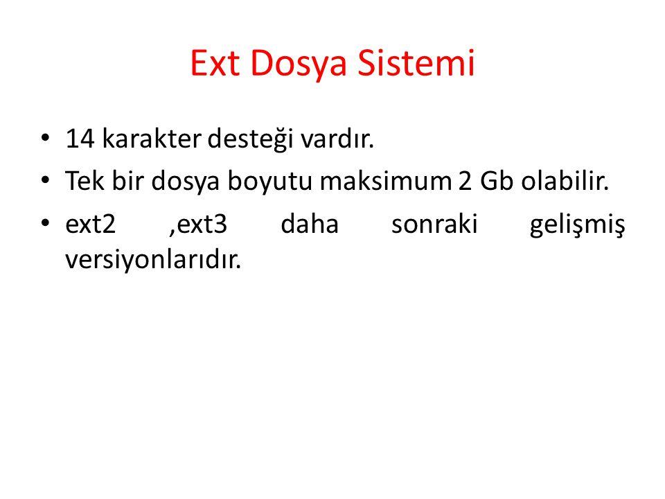 Ext Dosya Sistemi 14 karakter desteği vardır. Tek bir dosya boyutu maksimum 2 Gb olabilir. ext2,ext3 daha sonraki gelişmiş versiyonlarıdır.
