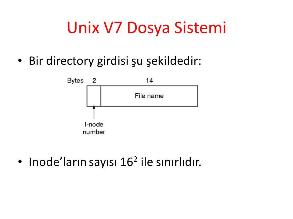 Unix V7 Dosya Sistemi Bir directory girdisi şu şekildedir: Inode'ların sayısı 16 2 ile sınırlıdır.