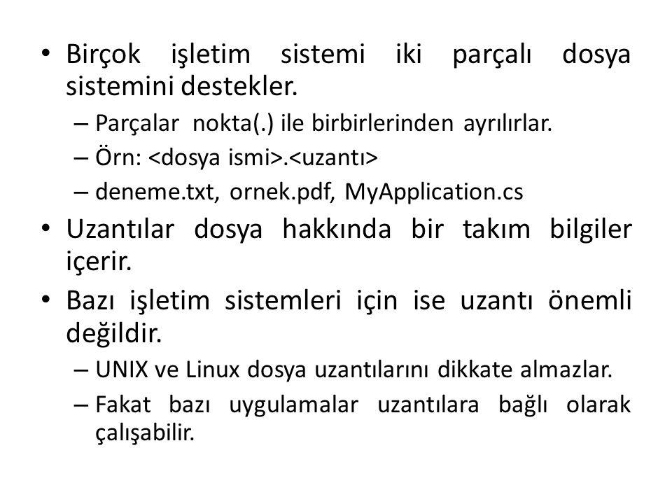 Birçok işletim sistemi iki parçalı dosya sistemini destekler. – Parçalar nokta(.) ile birbirlerinden ayrılırlar. – Örn:. – deneme.txt, ornek.pdf, MyAp