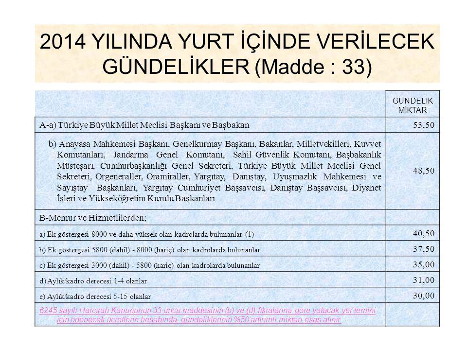 2014 YILINDA YURT İÇİNDE VERİLECEK GÜNDELİKLER (Madde : 33) GÜNDELİK MİKTAR A-a) Türkiye Büyük Millet Meclisi Başkanı ve Başbakan53,50 b) Anayasa Mahk