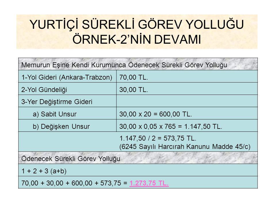 YURTİÇİ SÜREKLİ GÖREV YOLLUĞU ÖRNEK-2'NİN DEVAMI Memurun Eşine Kendi Kurumunca Ödenecek Sürekli Görev Yolluğu 1-Yol Gideri (Ankara-Trabzon)70,00 TL. 2