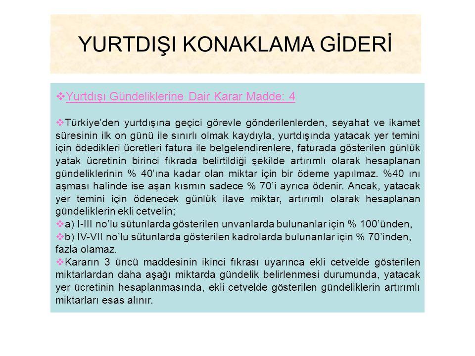 YURTDIŞI KONAKLAMA GİDERİ  Yurtdışı Gündeliklerine Dair Karar Madde: 4  Türkiye'den yurtdışına geçici görevle gönderilenlerden, seyahat ve ikamet sü