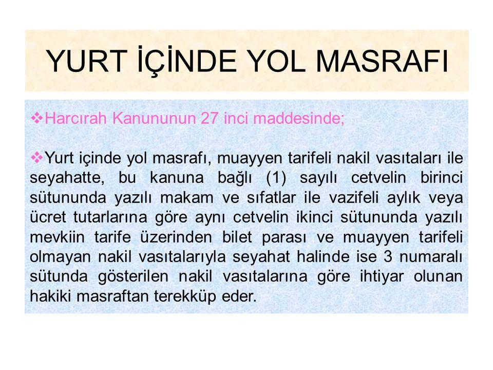 YURTİÇİ SÜREKLİ GÖREV YOLLUĞU ÖRNEK-2'NİN DEVAMI Memurun Eşine Kendi Kurumunca Ödenecek Sürekli Görev Yolluğu 1-Yol Gideri (Ankara-Trabzon)70,00 TL.