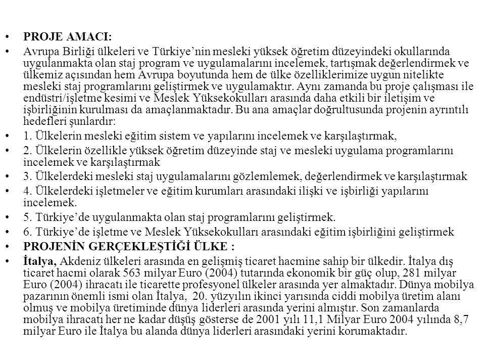 PROJE AMACI: Avrupa Birliği ülkeleri ve Türkiye'nin mesleki yüksek öğretim düzeyindeki okullarında uygulanmakta olan staj program ve uygulamalarını in