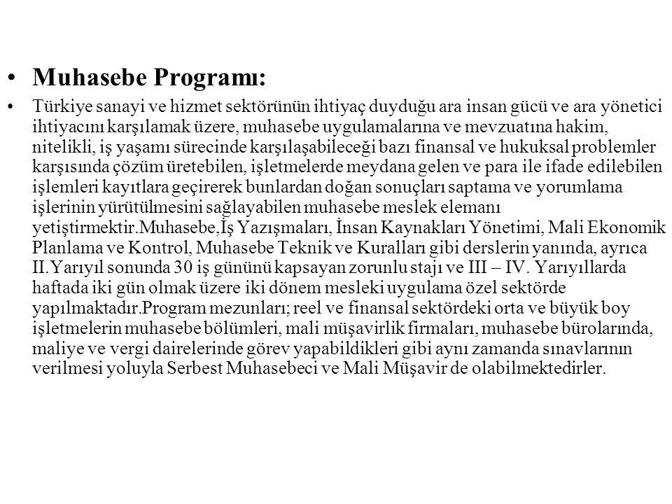 Muhasebe Programı: Türkiye sanayi ve hizmet sektörünün ihtiyaç duyduğu ara insan gücü ve ara yönetici ihtiyacını karşılamak üzere, muhasebe uygulamala